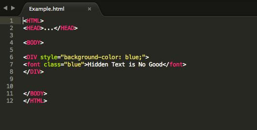 Texto escondido o Hidden Text SEO