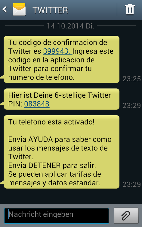Conectar Twitter con móvil SMS
