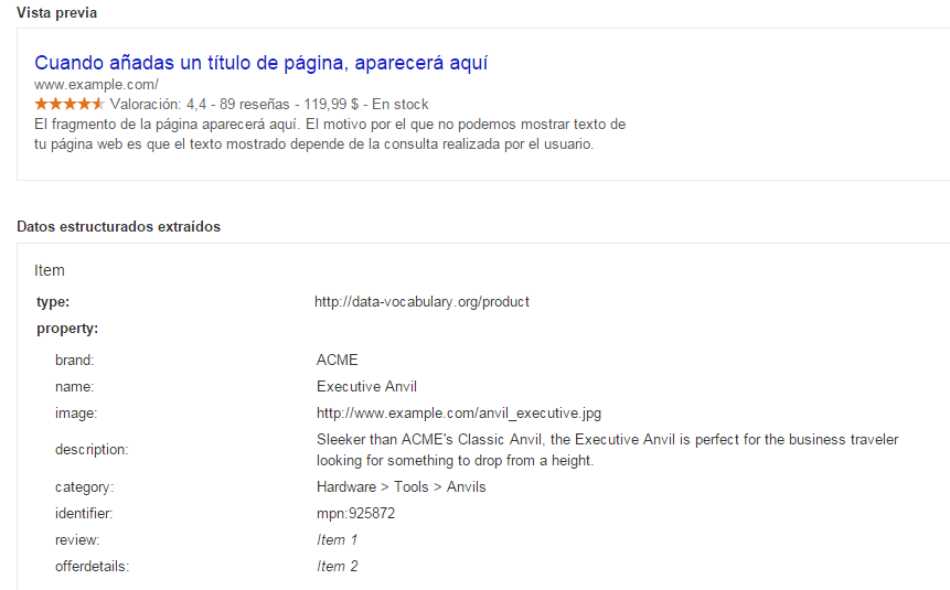 Herramienta de prueba de datos estructurados de Google