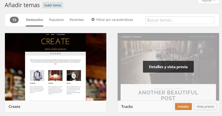 Buscar temas WordPress
