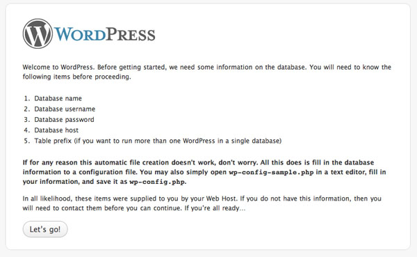 Pantalla de instalación de WordPress