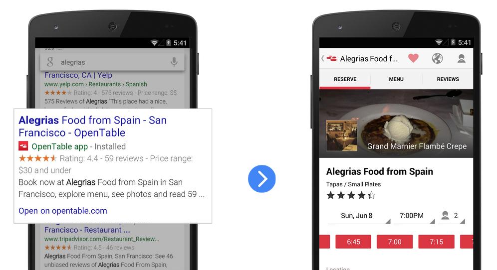 Resultados de Google en móvil