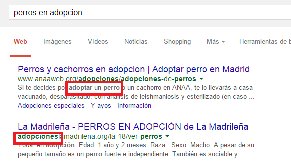 Sinónimos en sugerencias de Google