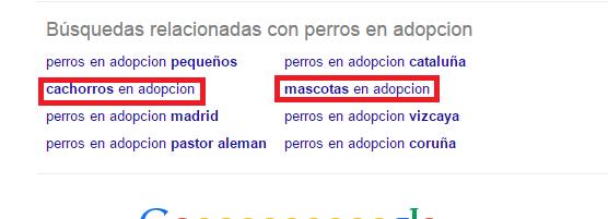Términos relacionados Google
