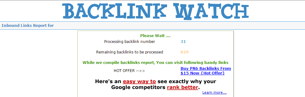 Analysis of backlinks