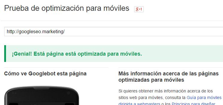 Prueba de optimización para móviles de Google