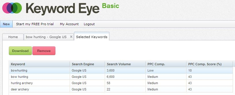 Keyword Eye análisis de palabras clave