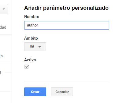 Crear parámetro personalizado Analytics