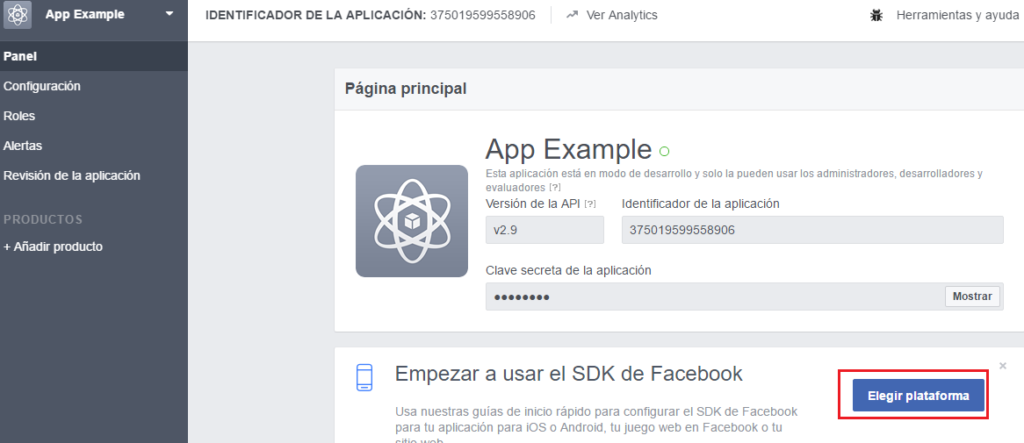 SDK App Facebook Developers