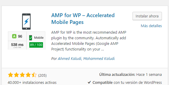 Mejor plugin AMP WordPress