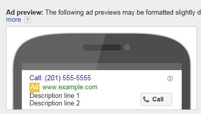 Formato de solo llamada de AdWords
