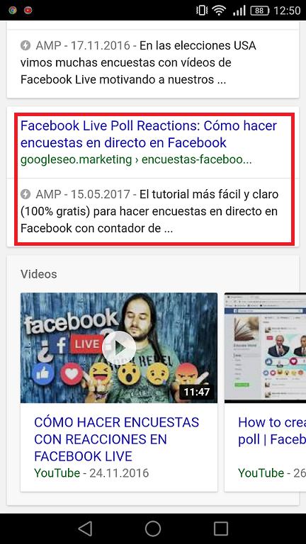 Resultado Google AMP SERP