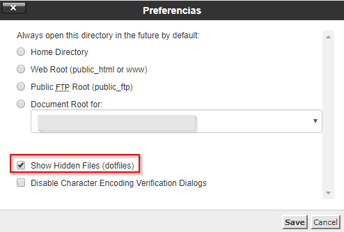 Mostrar ficheros y carpetas ocultas en el administrador de archivos - cPanel
