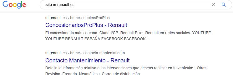 Ejemplo de búsqueda con el operador site de Google