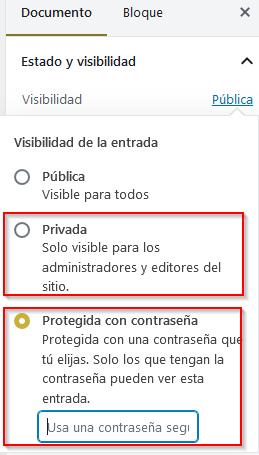 Proteger acceso a contenido de página en WordPress