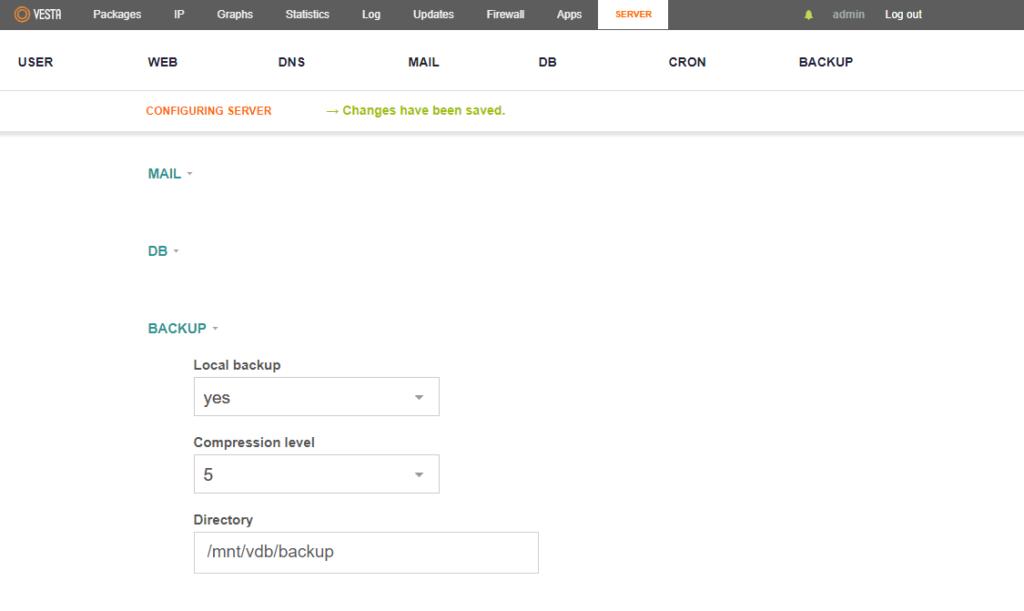 cambiar directorio Backup en vestacp